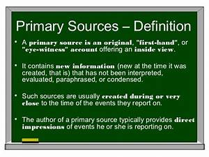 Primary secondary sources for Primary documents definition