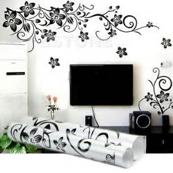 black flowers removable wall stickers wall decals mural home diy decor new ebay