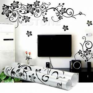 black flowers removable wall stickers wall decals mural With wall art stickers