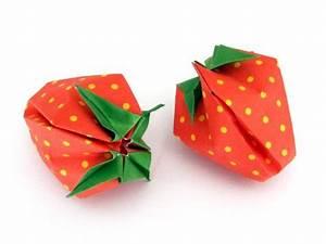Decoration Legumes Facile : fraise en origami gonflable en 3d origami origami papier et origami facile ~ Melissatoandfro.com Idées de Décoration
