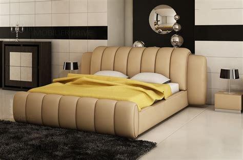 lit en cuir lit design en cuir italien de luxe splendide beige mobilier priv 233