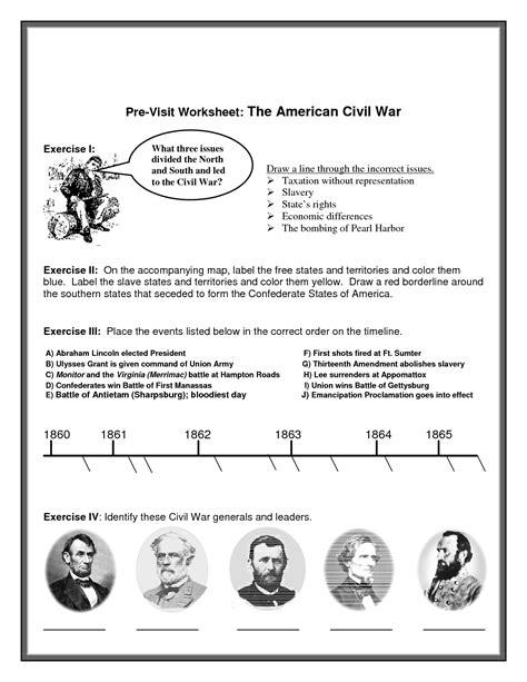 civil war printable worksheets pre visit worksheet the
