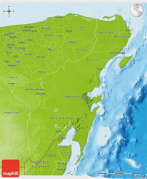 physical  map  quintana roo