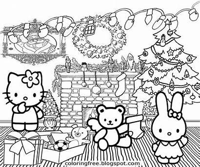 Coloring Christmas Pages Printable Kawaii Kitty Hello