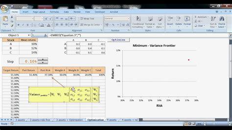 vba excel optimization efficient frontier youtube