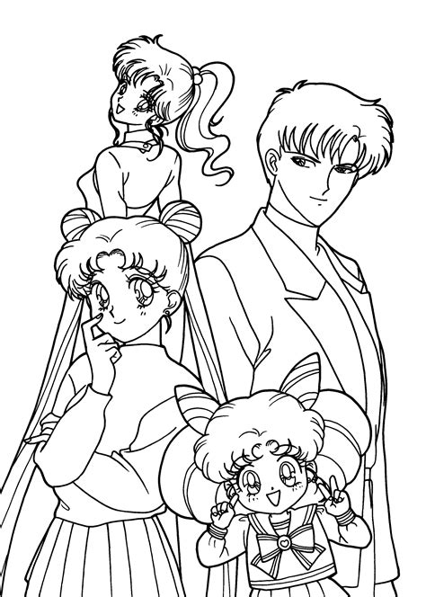 Sailor Moon Characters Anime Coloring Pages For Kids