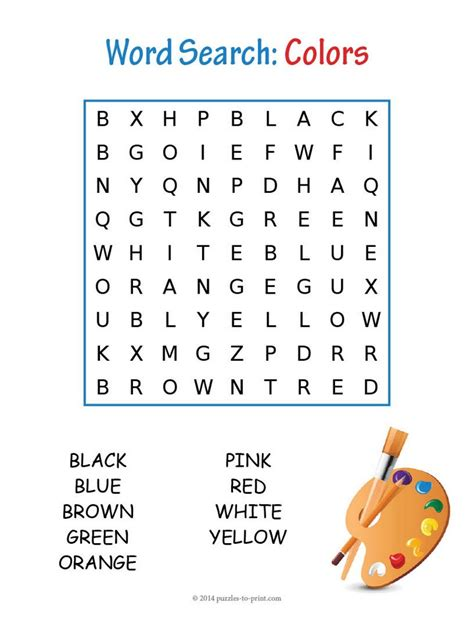 free printable word searches for kids colors word search 21889 | colors word search