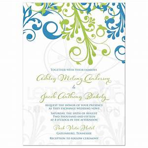 Wedding invitation cerulean blue lime green modern floral for Cerulean blue wedding invitations