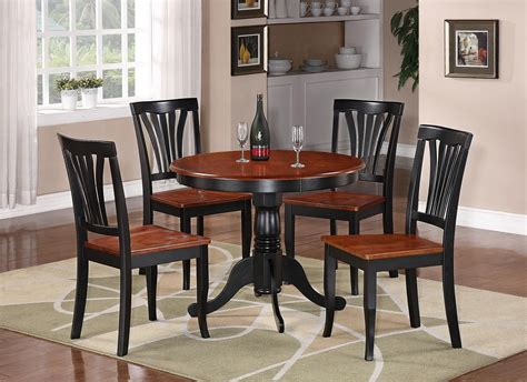 pc weston dinette kitchen table   wood seat chairs black brown