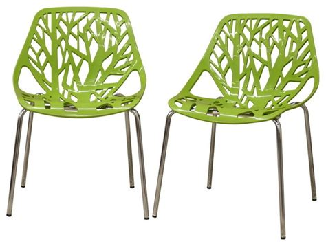 birch sapling plastic modern dining chairs green set of