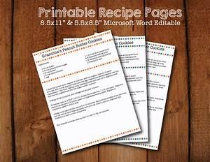 Polka Dot Printable Recipe Pages Microsoft Word Editable
