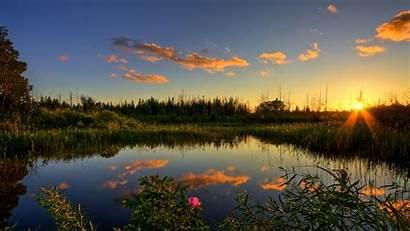 Nature Background Sun Lake Laptop Widescreen Ray