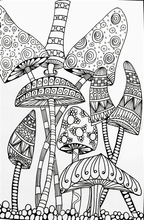 trippy mushroom coloring pages  mandala coloring