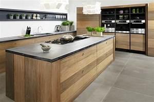 Cuisine Plan De Travail Bois : cuisine noire et bois un espace moderne et intrigant ~ Dailycaller-alerts.com Idées de Décoration