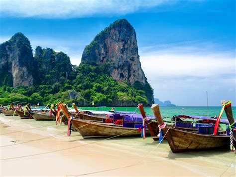 tropical landscape krabi beach thailand ocean turquoise