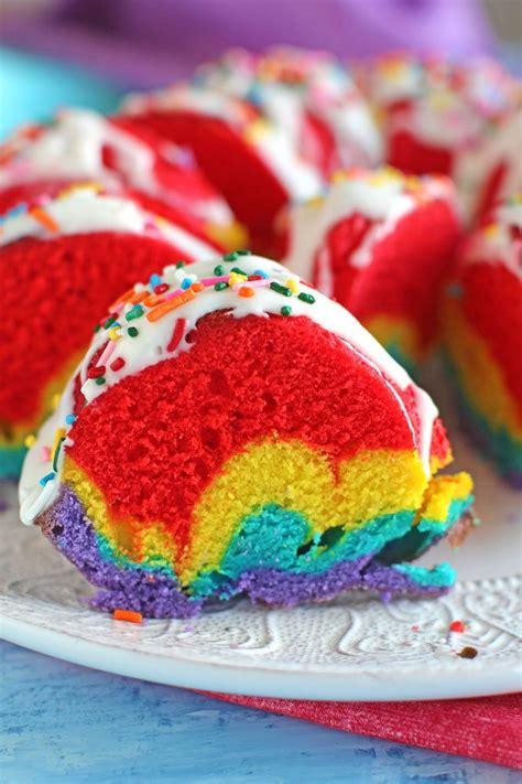 rainbow bundt cake video sweet  savory meals