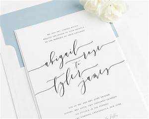 Romantic calligraphy wedding invitations in dusty blue for Writing wedding invitations in calligraphy