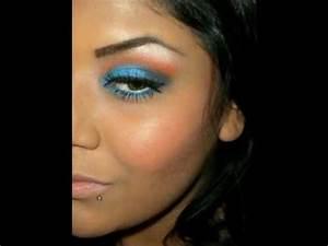 Orange & Bright Blue Makeup Tutorial MAC Freshwater & Rule