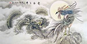 Chinese dragon paintings - Dragon and Phoenix Bringing ...