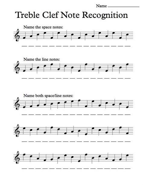 treble clef note recognition worksheet