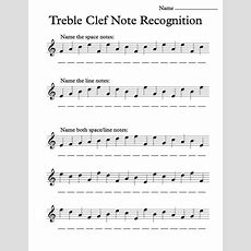 Treble Clef Note Recognition  Worksheet  Music Worksheets  Music, Bass Clef Notes, Music
