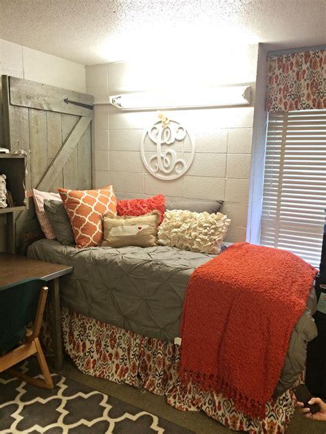 great dorm room barnwood door headboard gray  orange