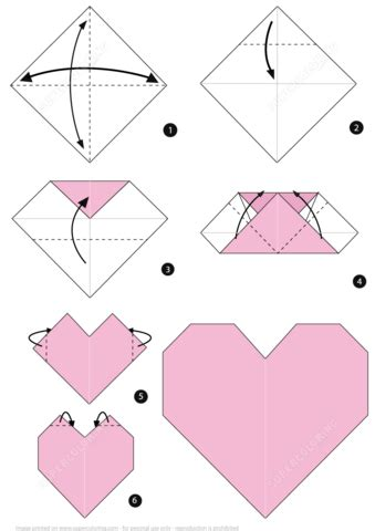 origami heart instructions  printable papercraft templates