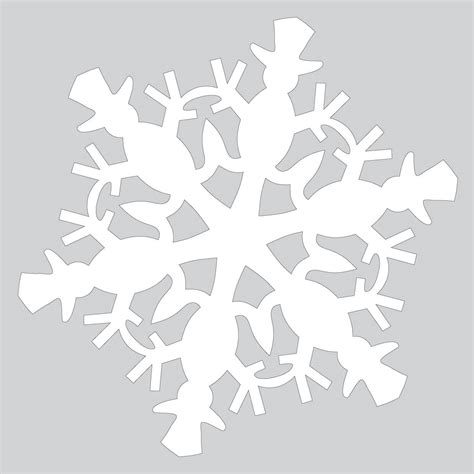 Snowflake Template Paper Snowflake Pattern With Snowman Cut Out Template