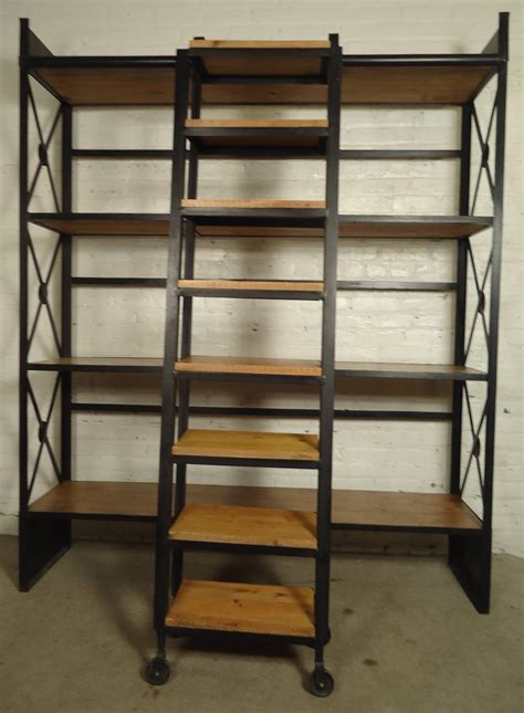 Industrial Wood And Iron Shelving Unit With Sliding Ladder