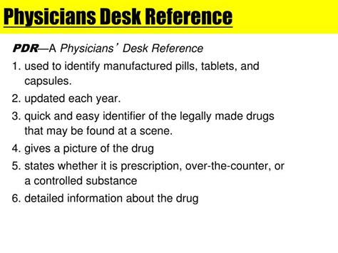 physicians desk reference pill identifier ppt drugs crime powerpoint presentation id 4245858