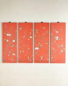 Coral Colored Decorative Items by Coral Kariya Floral Wall Panels Four I Horchow