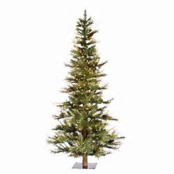 5 ft ashland fir slim pre lit tree with wood trunk trees at hayneedle
