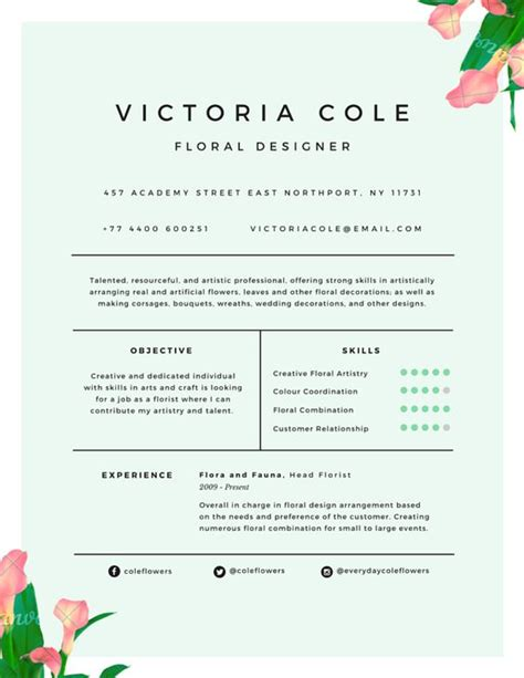 Floral Designer Resume Skills by The World S Catalog Of Ideas