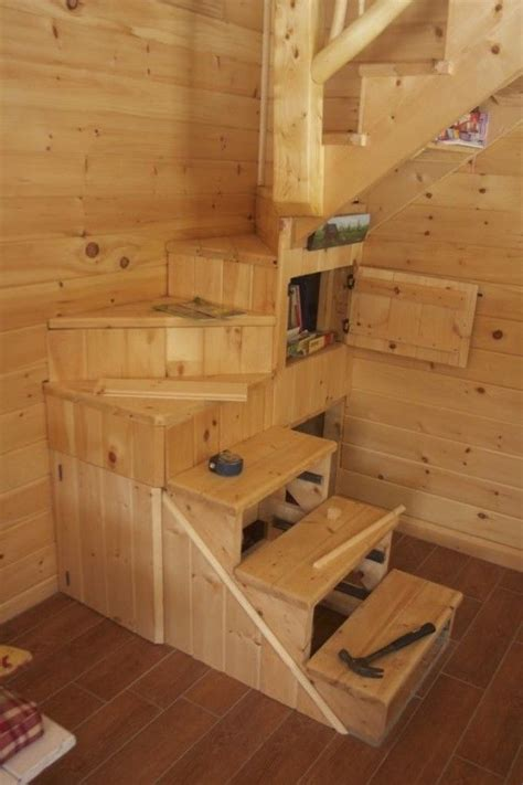 sf shed cabin  vermont  tiny house stairs tiny