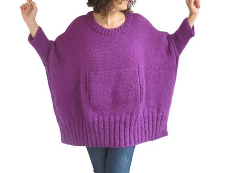 Purple Hand Knitted Sweater With Pocket Plus Size Over Size