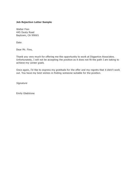 sample letter job offer rejection sample business letter