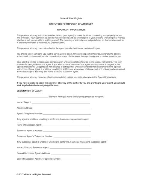 virginia power of attorney form pdf free west virginia durable financial power of attorney