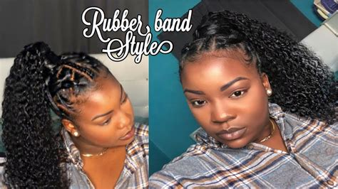 rubber band method high curly ponytail  natural hair