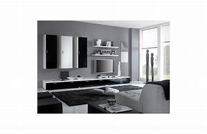 Meuble Salon Noir : canape noir et meuble blanc ~ Teatrodelosmanantiales.com Idées de Décoration