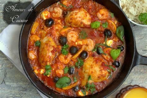 plats de cuisine plat méditerranéen au poulet et crevettes amour de cuisine