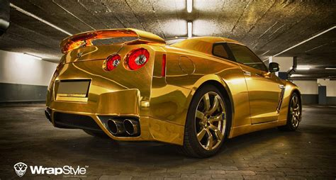 gold nissan car golden nissan gt r by wrapstyle extravaganzi