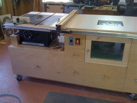mobile workbenchtable sawoutfeed tablerouter table