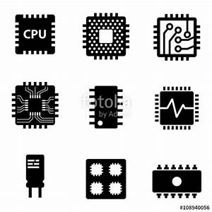 """""""Vector black CPU microprocessor and chips icons set ..."""