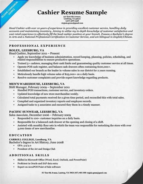Cashier Resume Template by Cashier Resume Sle Companion Templates Retail Resumes