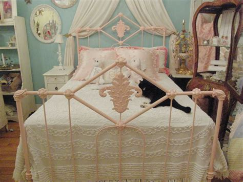 Shabby Chic Antique Bed Frame Pink Wrought Iron Full Double