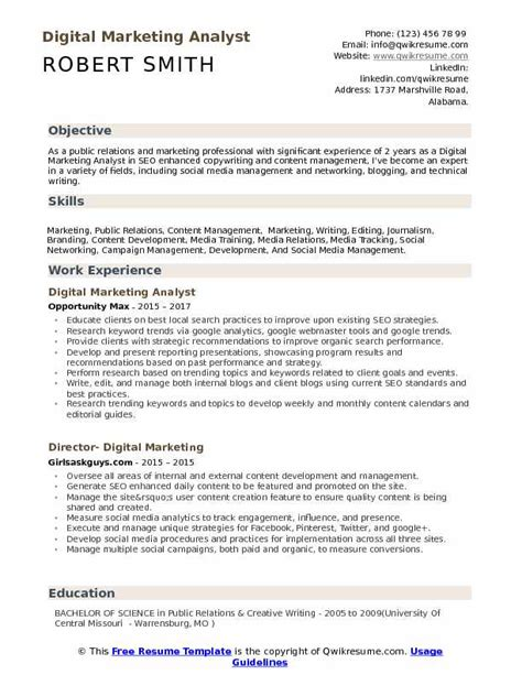 Marketing Analyst Resume Sle by Digital Marketing Analyst Resume Bijeefopijburg Nl