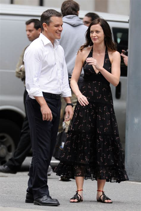 pictures  matt damon  emily blunt filming