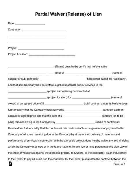 lien waiver template free partial release of lien form pdf word eforms free fillable forms