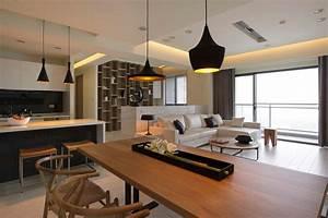 cuisine ouverte sur salon en 55 idees 3939open space3939 superbes With kitchen cabinet trends 2018 combined with suspension luminaire papier