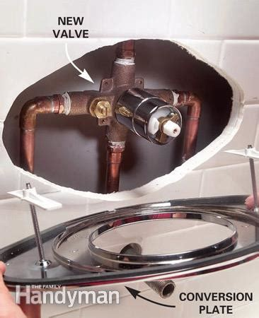 Shower Base Without Drain Hole by How To Replace A Two Handle Shower Valve With A Single